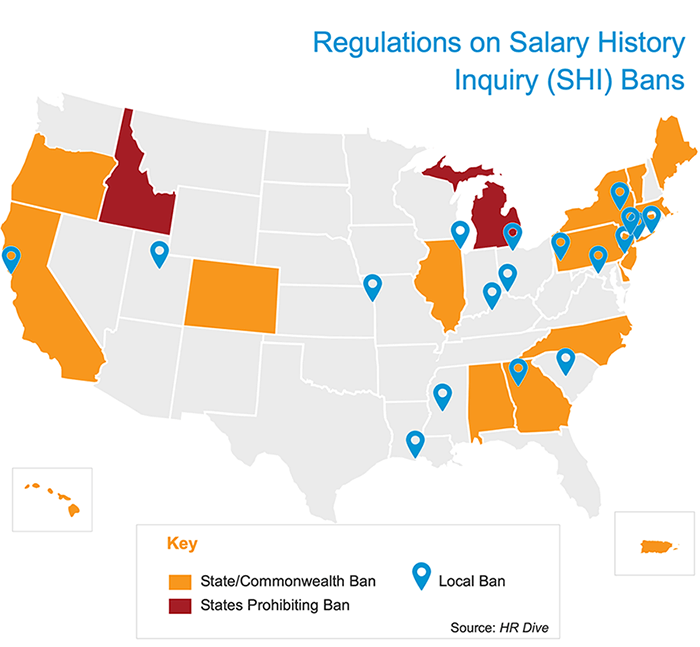 Salary History Ban Map with Key