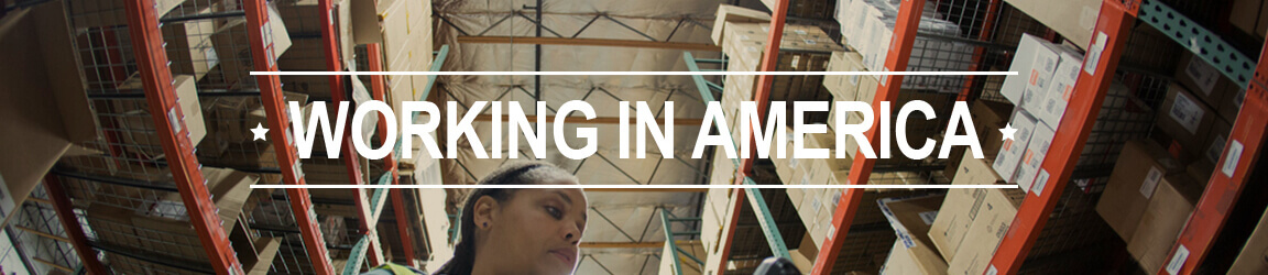 Woman working in a package storage area with Working in America text.