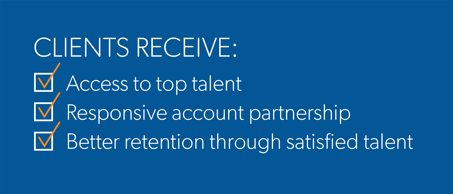 clients receive: access to top talent, responsive account partnership, better retention through satisfied talent