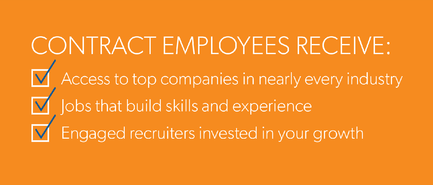 contractors receive: access to top companies in nearly every industry, jobs that build skills and experience, engaged recruiters invested in your growth