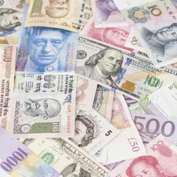 Various types of international currency