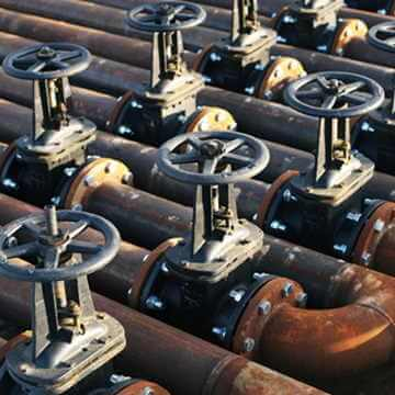 Oil and gas pipe line valves outdoors